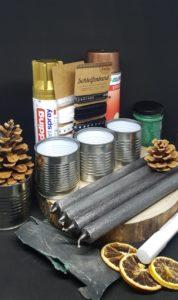 Die Materialien für einen Adventskranz aus Konservendosen